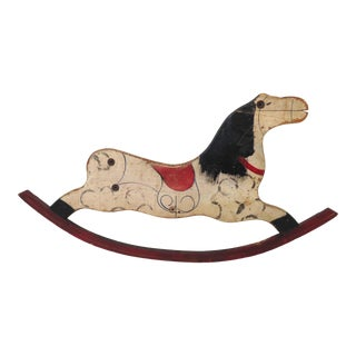 Antique American Hand Painted Childs Rocking Horse Side Panel For Sale