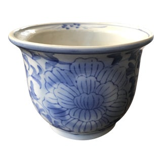 20th Century Chinoiserie Blue Ceramic Orchid Pot