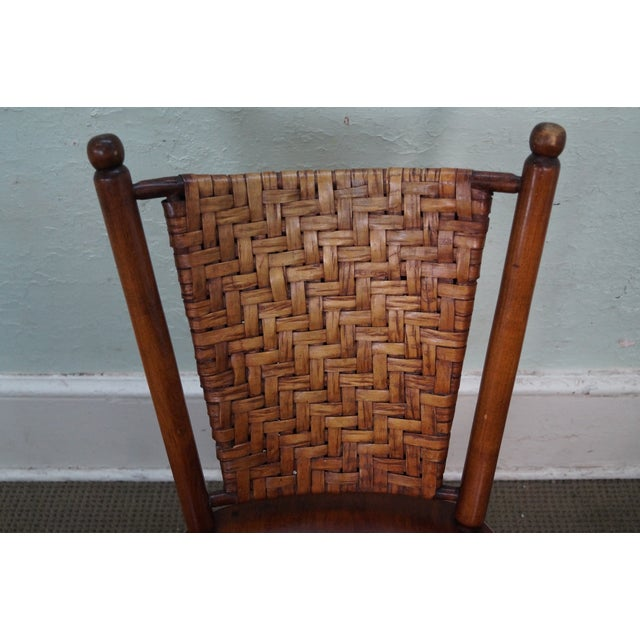 Old Hickory Signed Vintage Woven Splint Back Dining Chairs - Set of 4 For Sale - Image 9 of 10