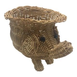Vintage Wicker Elephant Planter For Sale