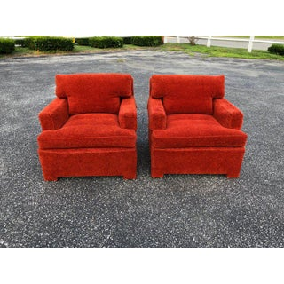 1950s Mid-Century Modern Edward Wormley for Dunbar Orange Rust Lounge Chairs - a Pair Preview