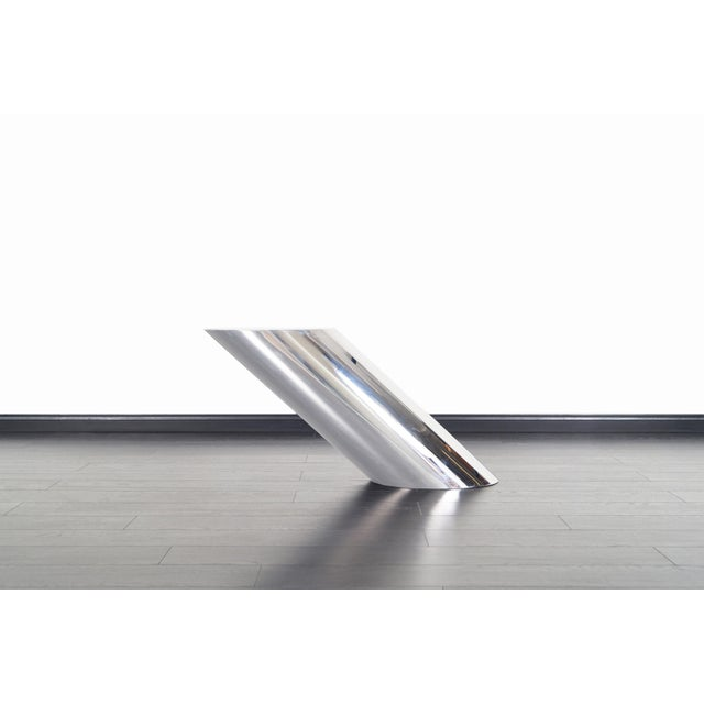 """Brueton Polished Steel """"Zephyr"""" Table by J. Wade Beam - a Pair For Sale - Image 12 of 13"""