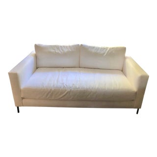 Upholstered White Loveseat by Jake From Pottery Barn For Sale