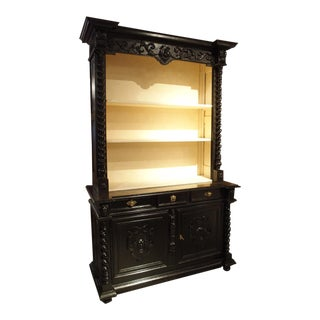 Ebonized French Napoleon III Open Bookcase With Turned Columns, Circa 1860 For Sale