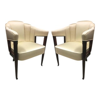 Maison Dominique Early Refined Pair of Chairs Newly Covered in Silk For Sale