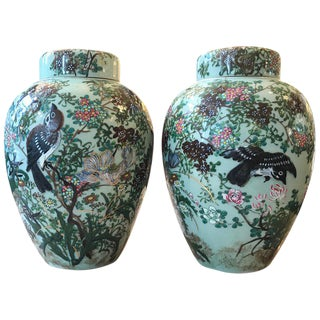 Chinese Porcelain Ginger Jars Tea Jars - a Pair For Sale