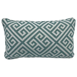 Thibaut 'Mykonos Key' Lumbar Pillow in Aqua and White For Sale