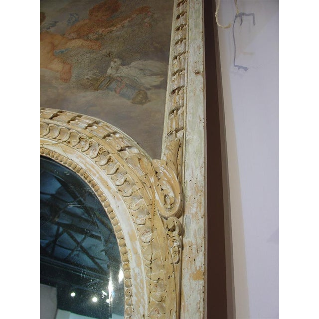 Glass Monumental Antique, French Parcel Paint Trumeau Mirror For Sale - Image 7 of 10