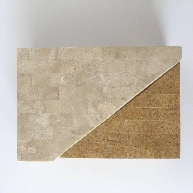 Brass Maitland-Smith Asymmetrical Tessellated Stone Brass Box For Sale - Image 7 of 10