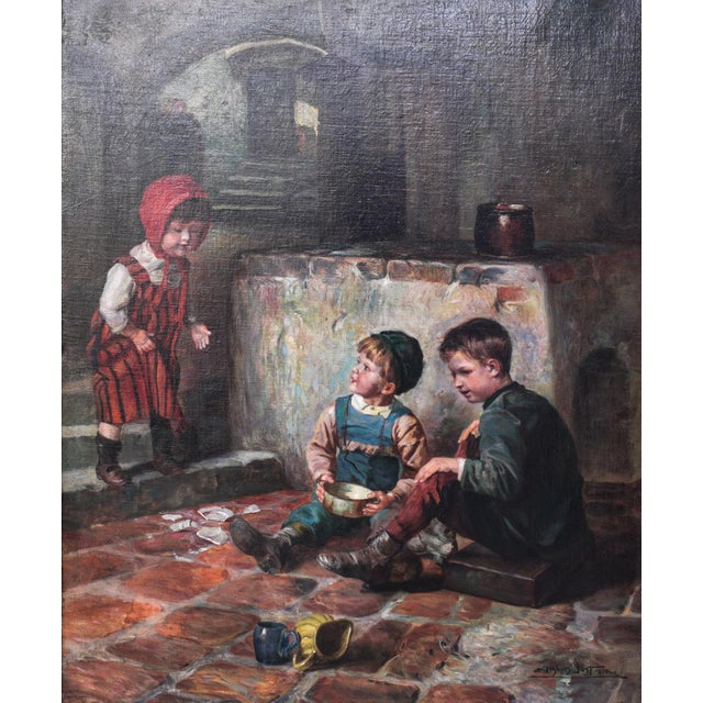 """Oil on Canvas Painting """"The Broken Plate"""" by Joseph Jost, 1910 For Sale"""