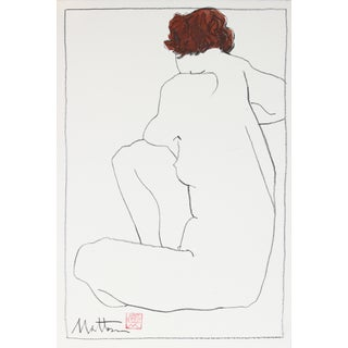 Rip Matteson Seated Red-Headed Nude Drawing