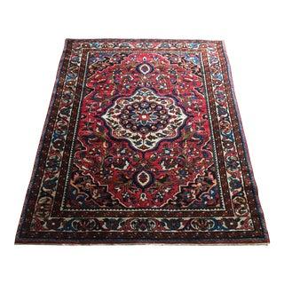 "Antique Baktiari Handmade Wool Carpet -- 3'6"" x 4'8"" For Sale"