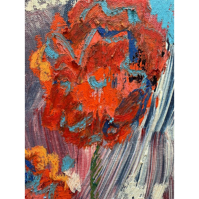 """""""You Brought Me Flowers"""" is a small format, bright and colorful mixed media painting by Monica Shulman.Monica marries her..."""