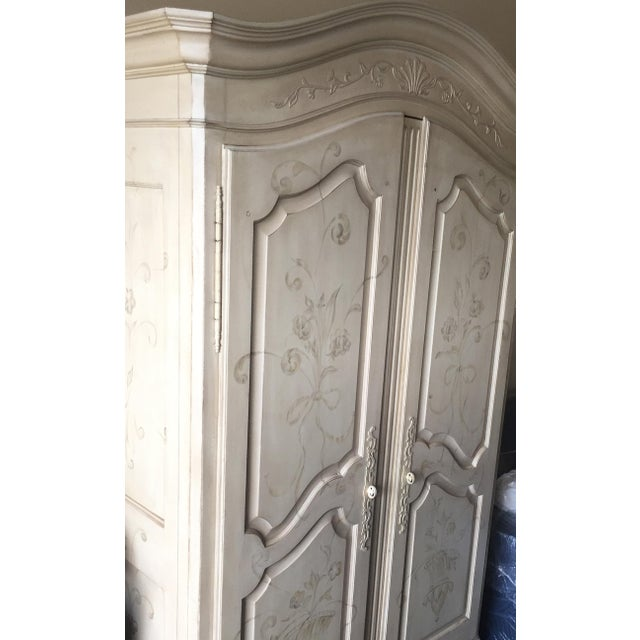 French Country Ethan Allen Hand Painted Maison Armoire For Sale - Image 3 of 5