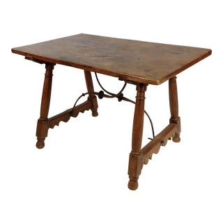 17th-18th Century Spanish Colonial Walnut Trestle Table For Sale