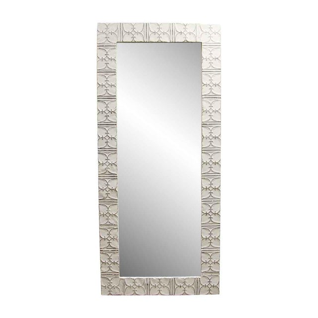White Ivy Clover Antique Ceiling Tin Mirror For Sale - Image 6 of 6