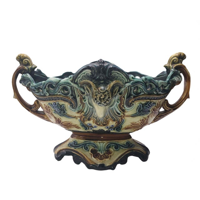 19th Century French Majolica Urn Planter For Sale - Image 9 of 9