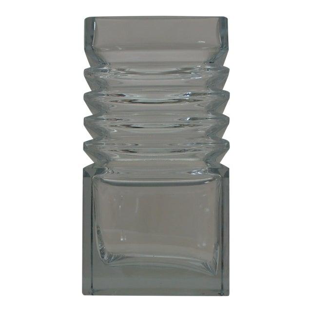 Mid Century Square Handblown Glass Vase With Ridge Detail Chairish