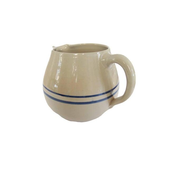 Vintage Blue White Striped Stoneware Pottery Crock Pitcher - Image 3 of 4
