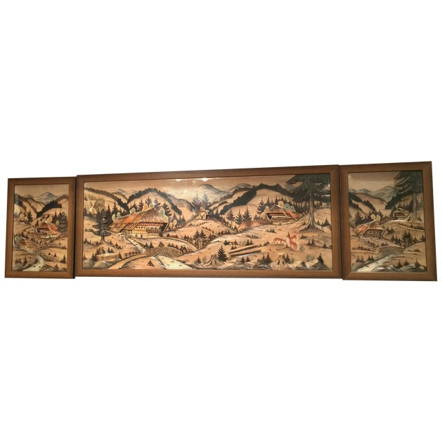3-Piece Painted Wood Relief Mountain Diorama - Image 1 of 8