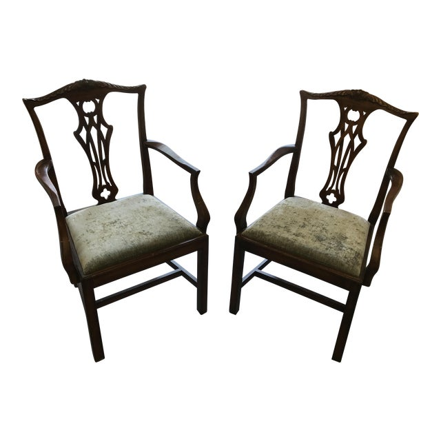 English Chippendale Antique Mahogany Chairs - A Pair - English Chippendale Antique Mahogany Chairs - A Pair Chairish