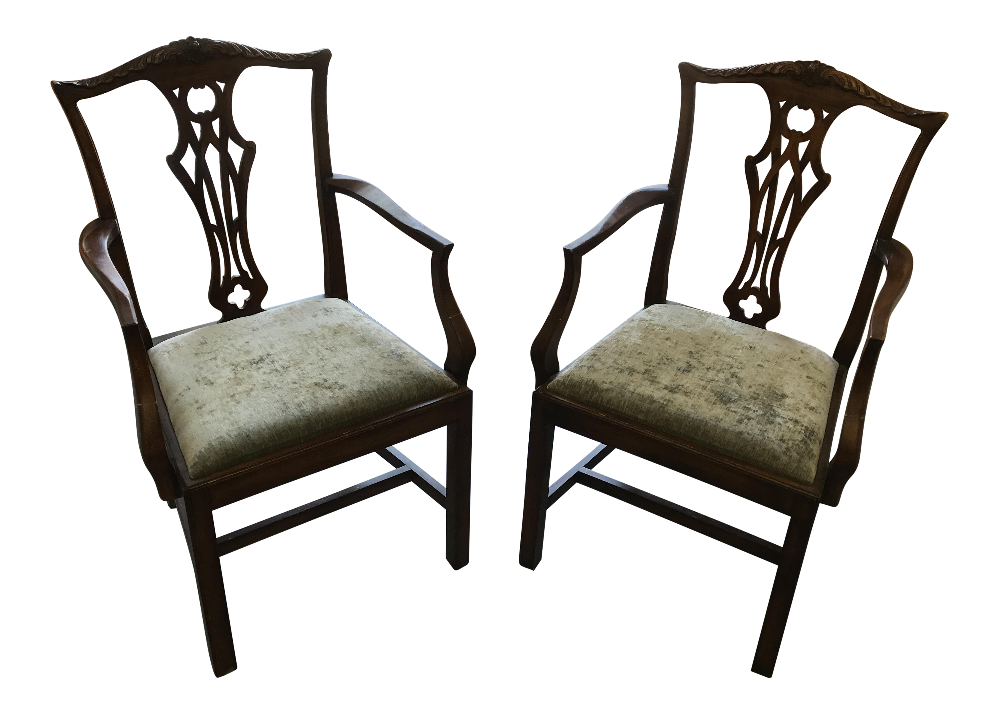 English Chippendale Antique Mahogany Chairs   A Pair