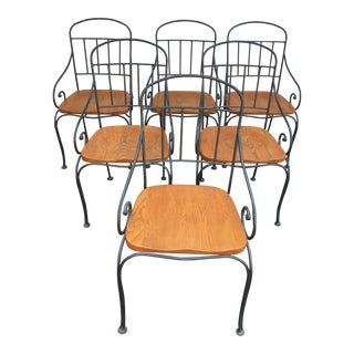 Vintage Iron & Oak Chairs -Set of 6