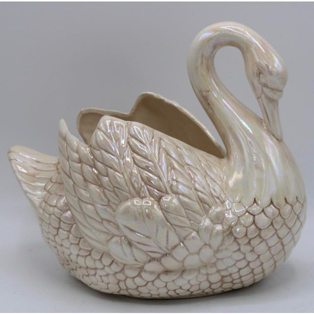 Cream Lusterware Swan Cachepot Planter For Sale - Image 13 of 13