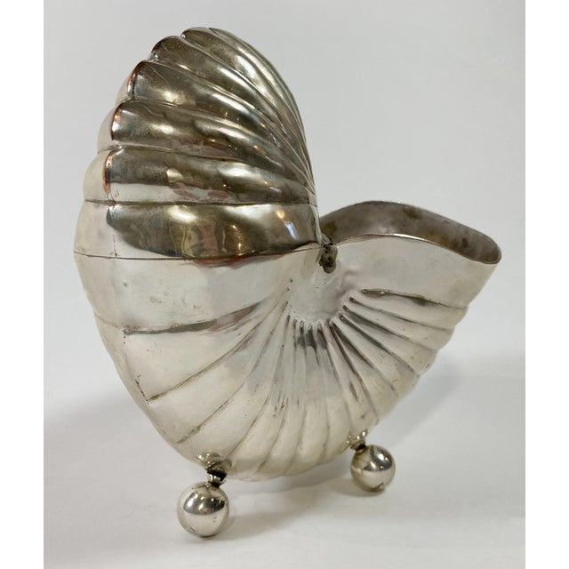 Metal Silver Nautilus Shell Planter For Sale - Image 7 of 8