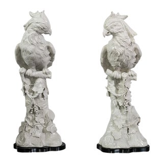 Italian Tall White Ceramic Cockatoo on Wood Base, A-Pair For Sale
