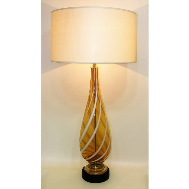 Italian Amber and White Striped Murano Glass Table Lamp Mid-Century Modern MCM For Sale - Image 10 of 11