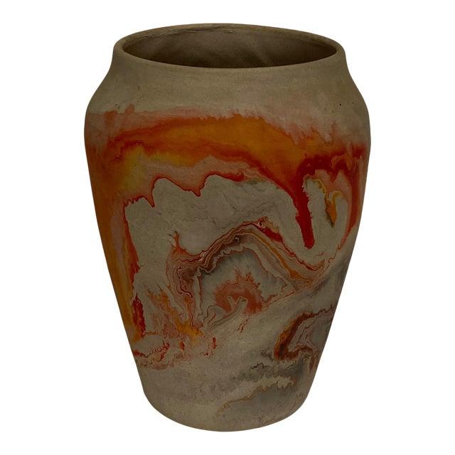 Vintage Nemad Indian Orange Brown Pottery Vase For Sale