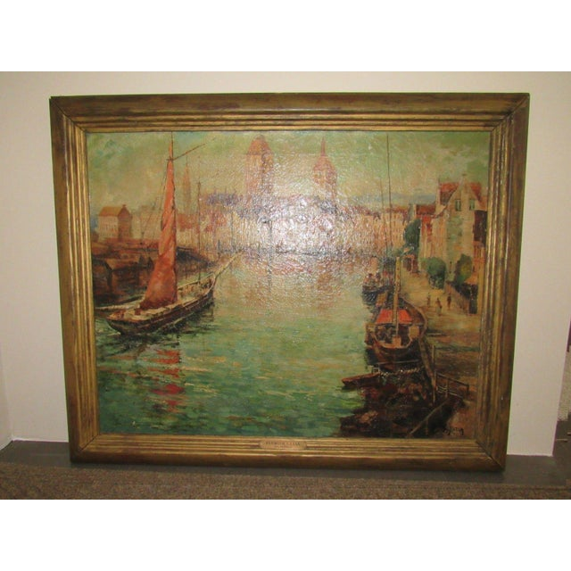 Nautical Joseph Sloman Antique Canal Scene Oil Painting For Sale - Image 3 of 8