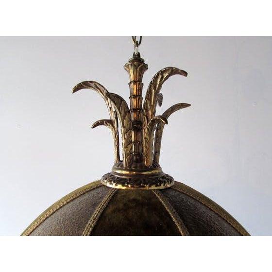French Brass & Velvet Pendant Light For Sale - Image 5 of 7