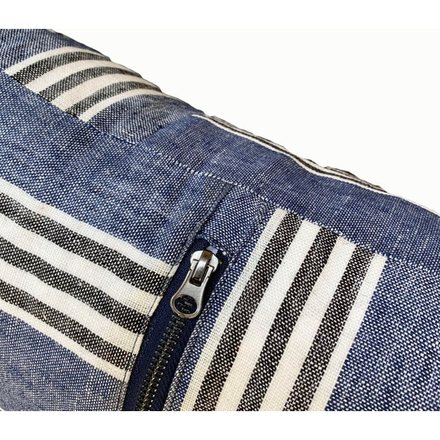 Country Blue Linen Striped Lumbar Pillow For Sale - Image 4 of 6