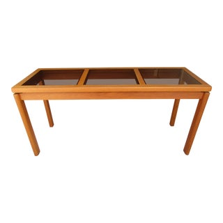 Danish Modern Teak and Smoked Glass Sofa Table