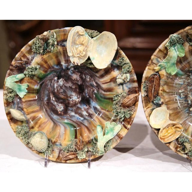Early 20th Century Barbotine Wall Hanging Plates With Seashells - A Pair For Sale - Image 4 of 10