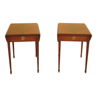 Baker Laura Ashley Inlaid Mahogany Drop Leaf Pembroke Tables - A Pair