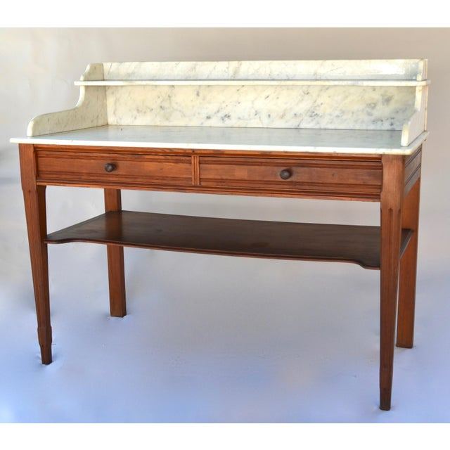 Antique Marble-Top Washstand/Table With Cedar Wood Base For Sale - Image 10 of 10