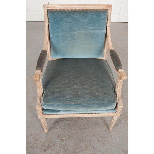 19th Century French Louis XVI Style Painted Fauteuil Chair For Sale - Image 9 of 12