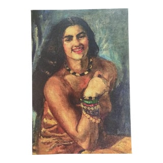 Amrita Sher-Gil Self Portrait #2 Print on Canvas Framed (Reproduction Print) For Sale