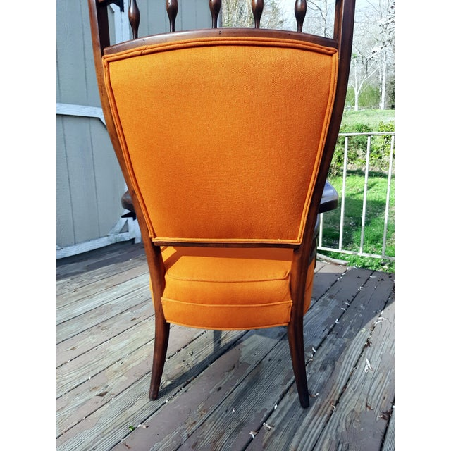 Wood Vintage Mid Century Modern Maxwell Royal for Dunbar High Back Armchair Original Fabric For Sale - Image 7 of 13