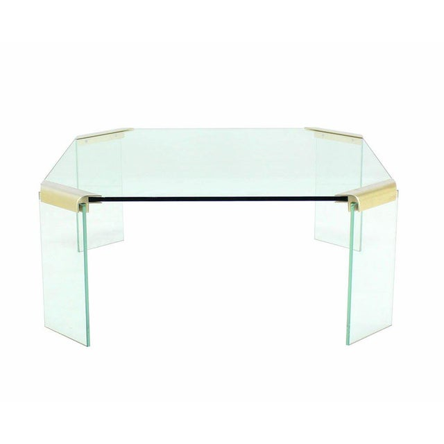 Early 20th Century Large Square Glass Top Legs Brass Bracket Base Coffee Table For Sale - Image 5 of 5