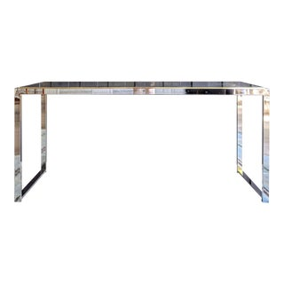 Minimalist Chrome Console Table in the Style of Milo Baughman For Sale