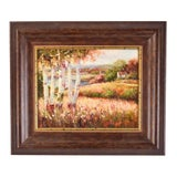 Image of 1990s F. Jacobs Impressionist Inspired Landscape Lakeside Cottage With Birch Trees Oil Painting For Sale