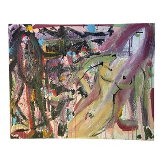 Abstract Brutalist Figurative Painting For Sale