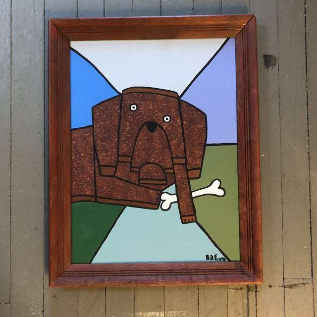 "Contemporary Folk Artist B.D.Floyd ""a Dog & His Bone"" Original Painting For Sale In Philadelphia - Image 6 of 6"