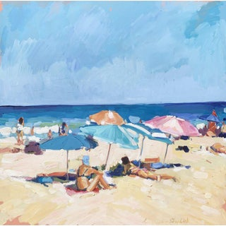 Contemporary Laura Lacambra Shubert Painting, Sunbathers on the Beach For Sale