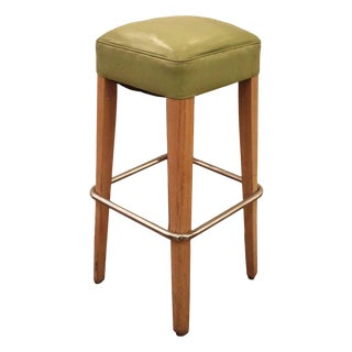 Thonet Green Vinyl Bar Stool