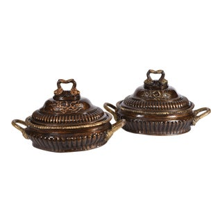 Early 20th Century Neoclassical Style Bronze Tureen Centerpieces - a Pair For Sale